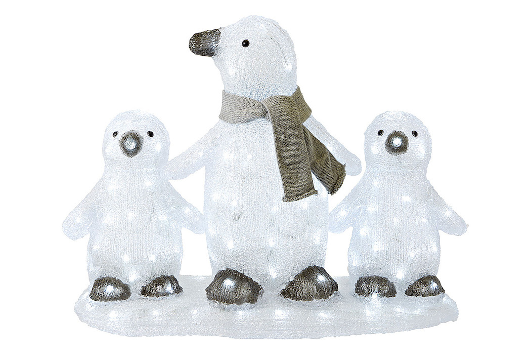 Image of LED Pinguin 3pc. weiss 136LED aussen